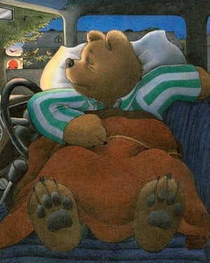 Mr Bear tries his best to get a decent night's sleep, in Jill Murphy's first picture book, Peace at Last