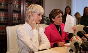 Jane Doe 15 speaks at a news conference in Los Angeles along with her lawyer Gloria Allred.