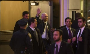 Mike Pence leaving the Broadway play Hamilton, where cast members urged him to respect the rights of minorities, women and gay people.