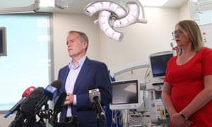 The Leader of the Opposition, Bill Shorten, and shadow minister for health, Catherine King, during a visit to Vermont Private Hospital in Melbourne, 4 February 2018. Labor are planning on making private health insurance more affordable to Australians.