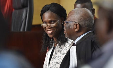 Ivory Coast's former first lady Simone Gbagbo arrives for her trial at the Abidjan justice court on 31 May 2016.