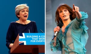 Theresa May and Florence Welch, who criticised the use of her music at the Tory party conference.