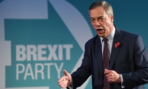 Nigel Farage speaking at the Brexit party campaign launch in London