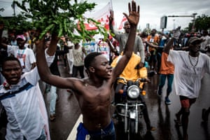 Opposition supporters in Kinshasa