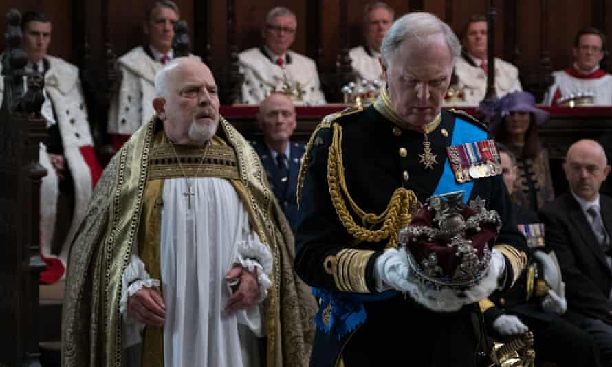 John Shrapnel, left, as the archbishop, with Tim Pigott-Smith in the title role of the TV film King Charles III, 2017.