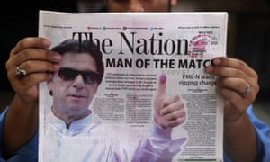 A Pakistani newspaper shows Imran Khan, head of Pakistan Tehrik-e-Insaf, on the front page a day after general elections
