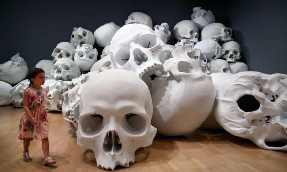 Ron Mueck's installation Mass, which consists of 100 larger-than-life skulls each measuring 1.5mx2m