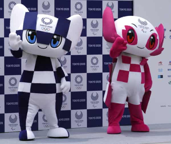 """Olympic mascot """"Miraitowa"""", left, and the Paralympic mascot """"Someity"""" make their debut last December."""
