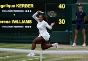 Serena Williams fires a shot to Angelique Kerber.
