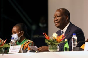 Ivory Coast's president Alassane Ouattara attends the meeting of the political committee of Ivory Coast's ruling RHDP party to select their candidate for October's presidential election in Abidjan.
