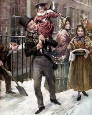 Bob Cratchit carries Tiny Tim on his shoulders – both are characters from 'A Christmas Carol' by Charles Dickens.