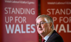 Mark Drakeford, the Welsh first minister, at the launch of the Welsh Labour party campaign in Cardiff.