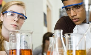 Students conducting experiment in chemistry class