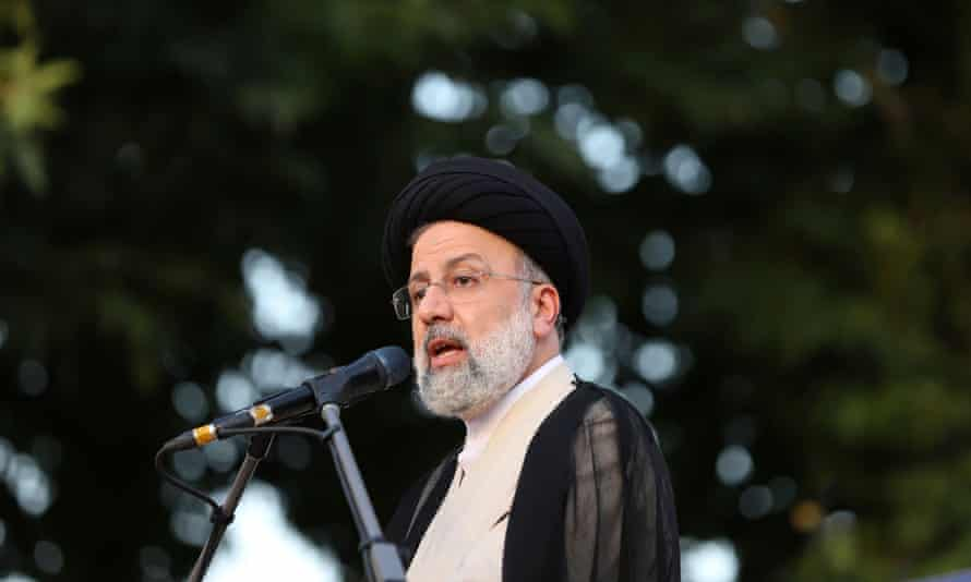 The presidential candidate Ebrahim Raisi speaks at a campaign rally in Tehran, Iran.
