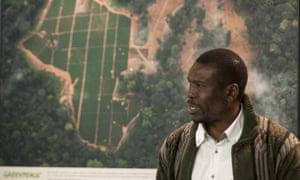 Nasako Besingi, director of the Cameroonian NGO, SEFE, speaks during a press briefing