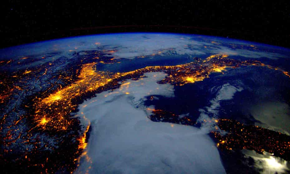 Earth observation taken during a night pass by the Expedition 46 crew aboard the International Space Station (ISS).