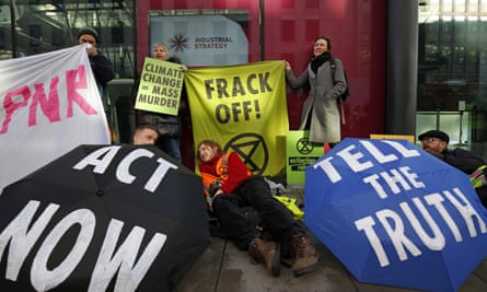 Anti-fracking protesters outside Department for Business, Energy and Industrial Strategy.
