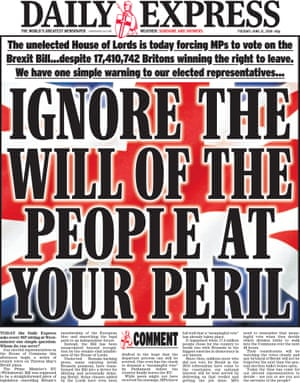 Daily Express front page with headline: 'Ignore the will of the people at your peril.'