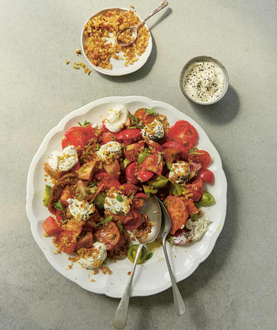 Winter tomatoes with whipped feta, by Anna Jones.