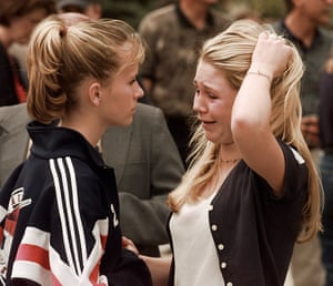 Columbine students in the aftermath of the shooting.