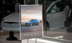 a small poster advertising the tesla model 3