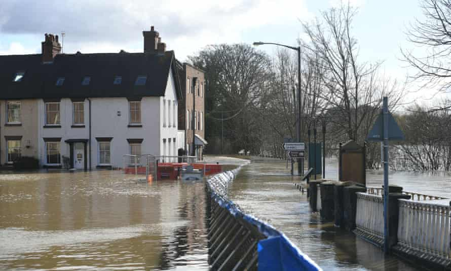 Temporary flood defences in Bewdley, Worcestershire, in February 2020.