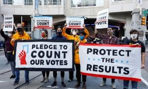 Demonstrators protest in Philadelphia on Wednesday.