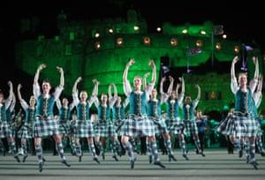 Edinburgh, Scotland Highland dancers perform on the Esplanade during the Royal Edinburgh Military Tattoo at Edinburgh Castle