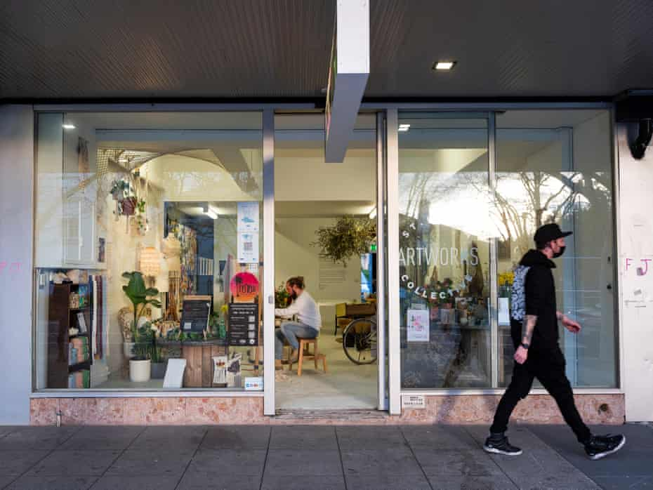 Members of the St Kilda Artworks Collective, Peter Williams aka Mr Macrame Artist and florist Sam Sagginelli, work in their studio on Fitzroy St, St Kilda