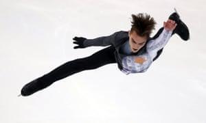 Anton Shulepov in his Auschwitz costume during the  free skate program in Grenoble in November
