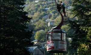 Malkhaz Kapanadze, 36, oils and checks a cable car during maintenance work in the town of Chiatura, some 220 km (136 miles) northwest of Tbilisi.