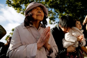 People offer prayers on New Year's Day in Tokyo.