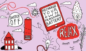 Take a digital detox, recharge your own personal batteries - illustration (pink)