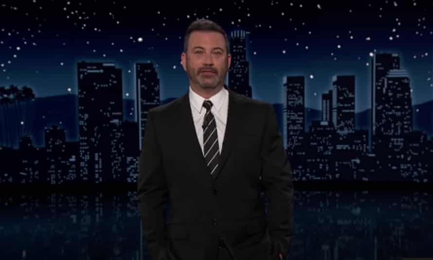 """Jimmy Kimmel on report that Trump asked advisers in 2019 to use the Justice Department to stop late-night comedians from joking about him: """"Can you imagine that? President Snowflake asked to send the authorities in to stop us from making fun of him."""""""