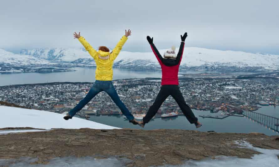 Women enjoy the outdoors in Tromsø, northern Norway.