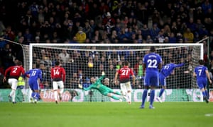 Victor Camarasa of Cardiff City scores his team's first goal from the penalty spot.