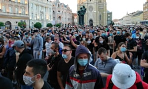 Protesters gather to protest against the coronavirus (Covid-19) measures announced by Serbian President, Aleksandar Vucic, in Novi Sad.