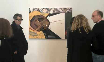 A group of museum-goers view Open Casket by Dana Schutz. 'Many objected to a white painter depicting such a traumatic moment in black history.'