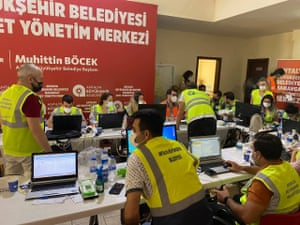 Emergency operations to stop wildfires near the village of Manavgat, in Antalya province, on the Mediterranean coast, Turkey