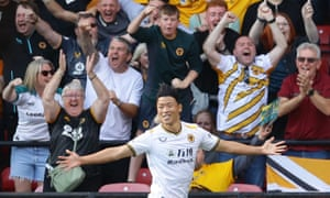 Wolverhampton Wanderers' Hwang Hee-Chan celebrates scoring their second goal.