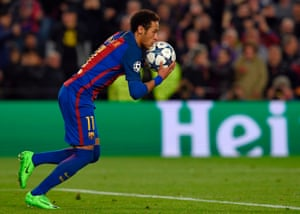 Neymar runs with the ball after scoring.