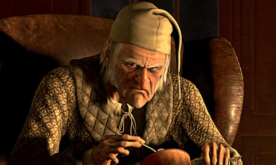 Scrooge, voiced by Jim Carrey, in the 2009 Disney adaptation of Charles Dickens's classic tale.