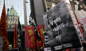 Workers party activists protest outside the Congress in Buenos Aires