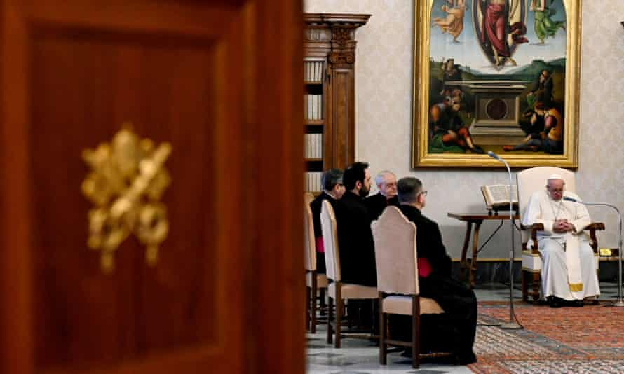 Pope Francis (right) at the Vatican