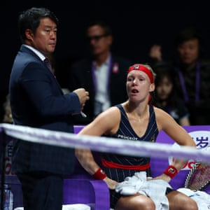 A tearful Kiki Bertens takes a medical timeout during her match against Belinda Bencic.