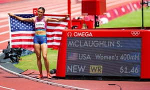Sydney McLaughlin celebrates her world record in the women's 400m hurdles.
