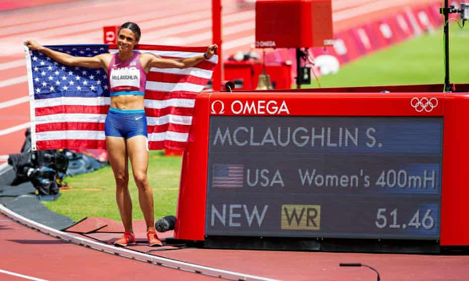 Sydney McLaughlin celebrates her world record at the Tokyo 2020 Olympics