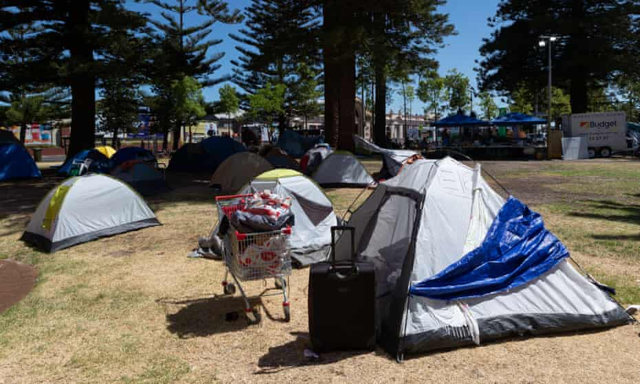 The tent city in Pioneer Park in Fremantle, Friday, January 22, 2021. . In the past 12 months, the state's public housing waiting list has ballooned by 2,000 to 14,890 applicants.