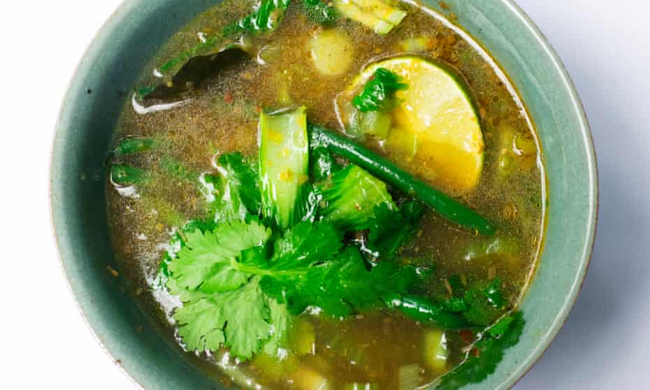 'Finish with a few coriander leaves, and an extra lime half for squeezing over…' summer hot and sour soup.