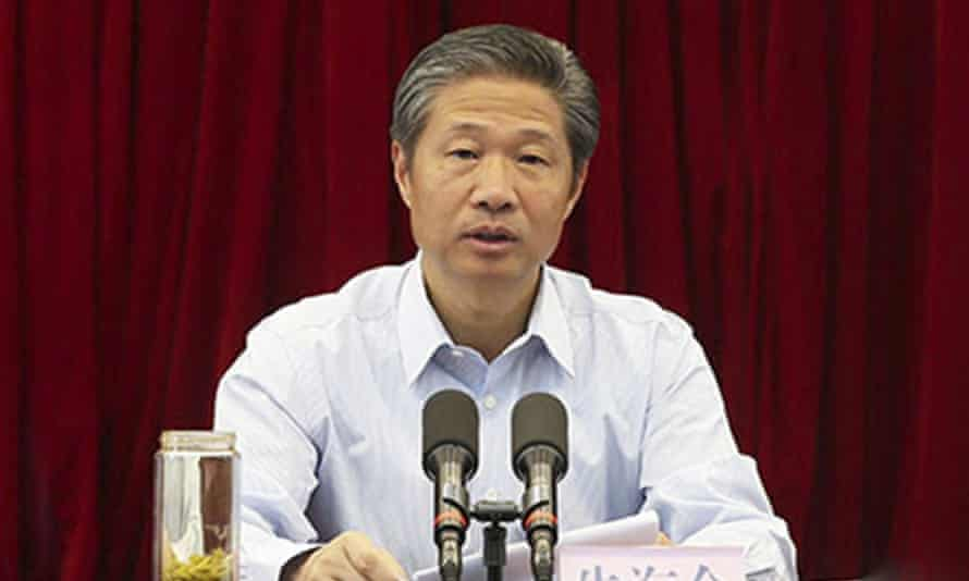 Zhu Hailun during his first press conference as deputy party secretary of Xinjiang region in March 2016.